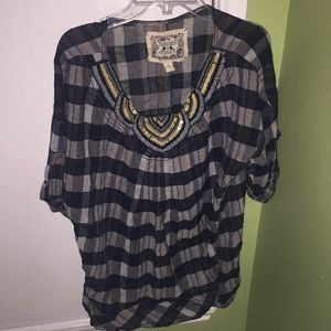 Women's Small Plaid Maternity Top